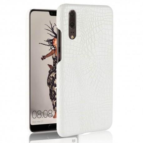 Coque Huawei P20 Cuir Croco Blanche