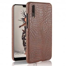 Coque Huawei P20 Cuir Croco Marron