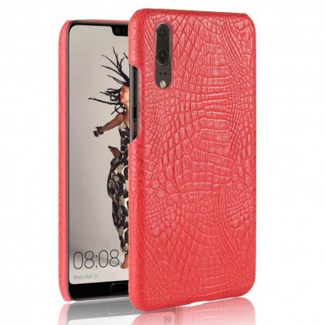 Coque Huawei P20 Cuir Croco Rouge