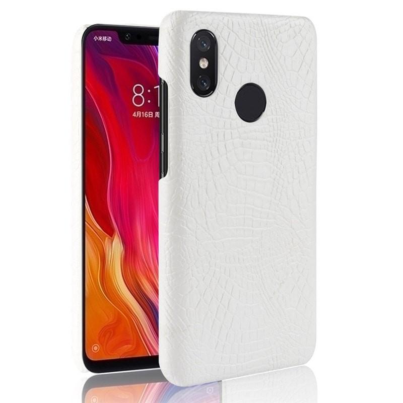 Coque Xiaomi MI 8 Croco Cuir Blanche