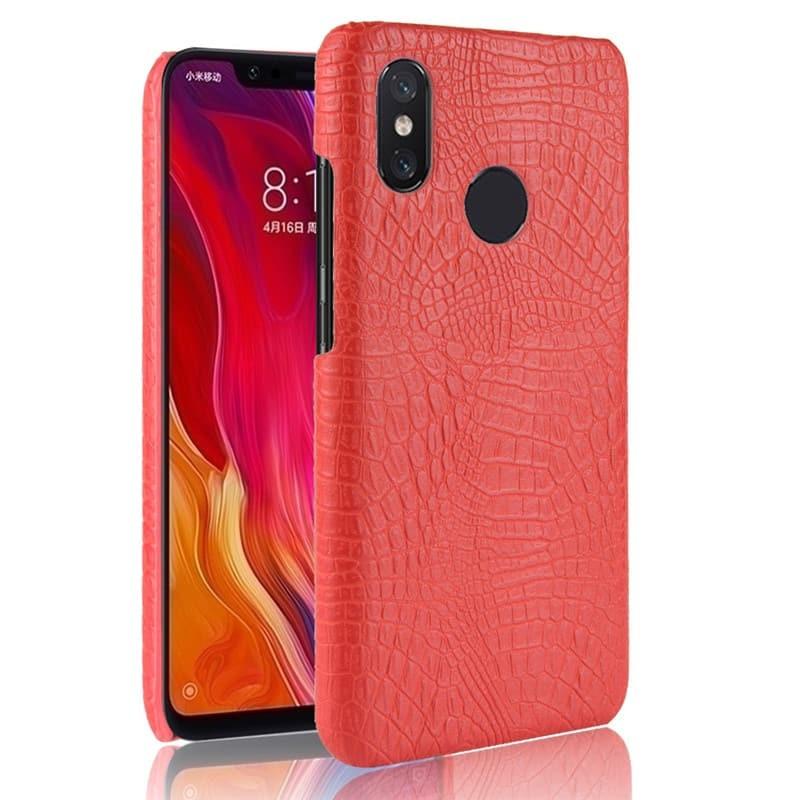 Coque Xiaomi MI 8 Croco Cuir Rouge