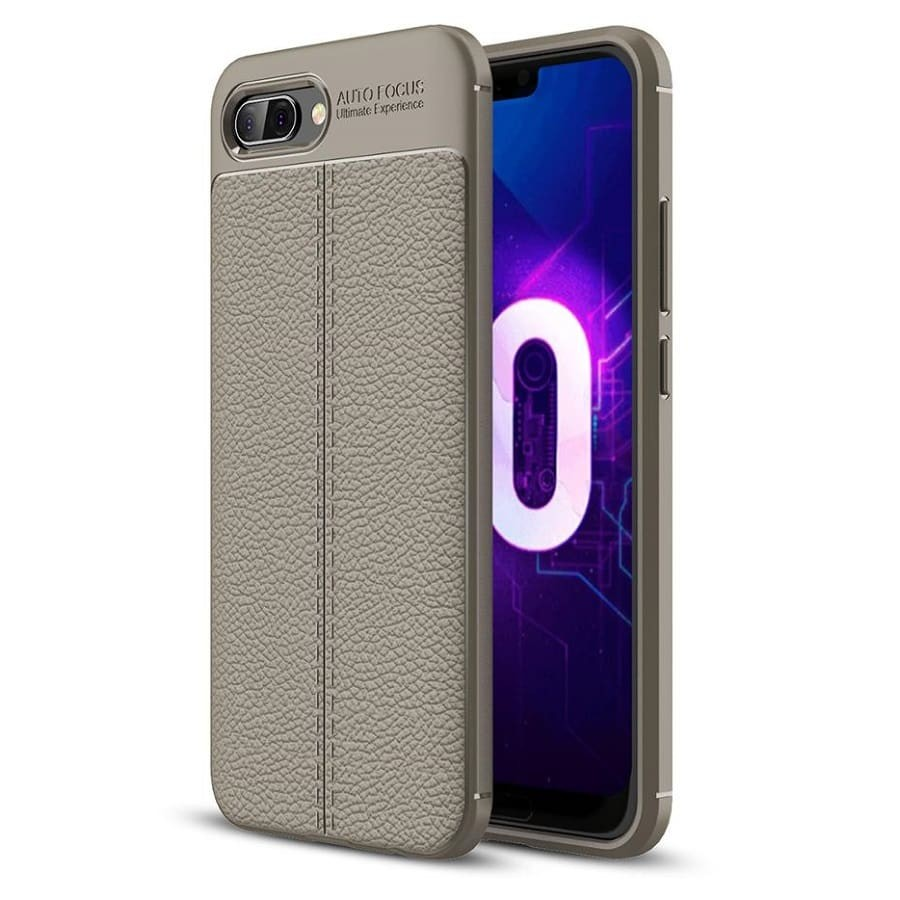 Coque Silicone Honor 10 Cuir 3D Grise