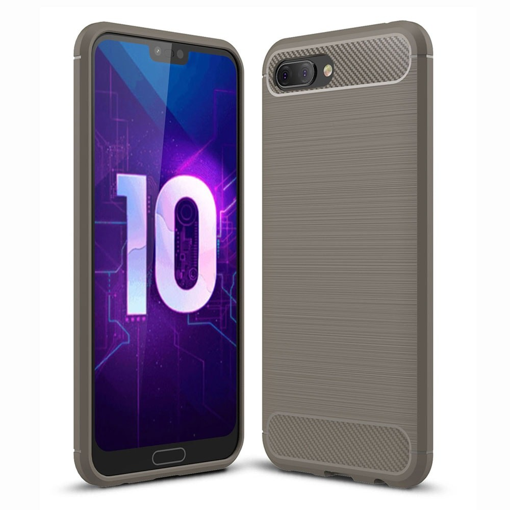 Coque Silicone Honor 10 3D Carbone Grise