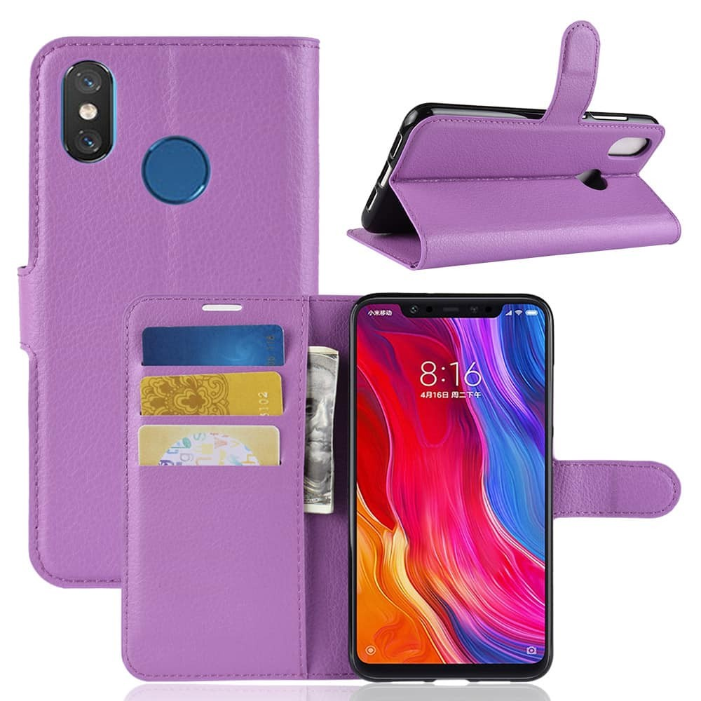 Etuis Xiaomi MI 8 Portefeuille Support LILA