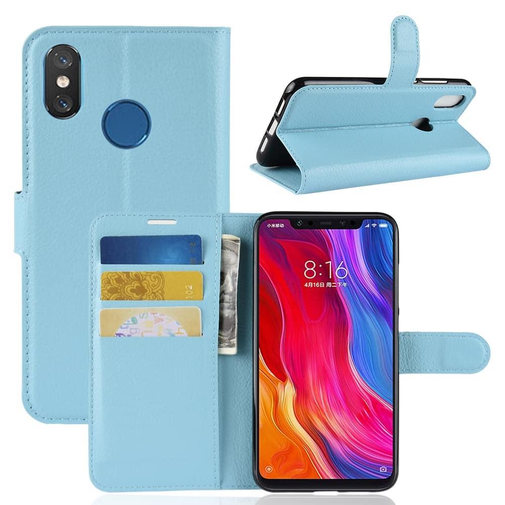 Etuis Xiaomi MI 8 Portefeuille Support BLEU