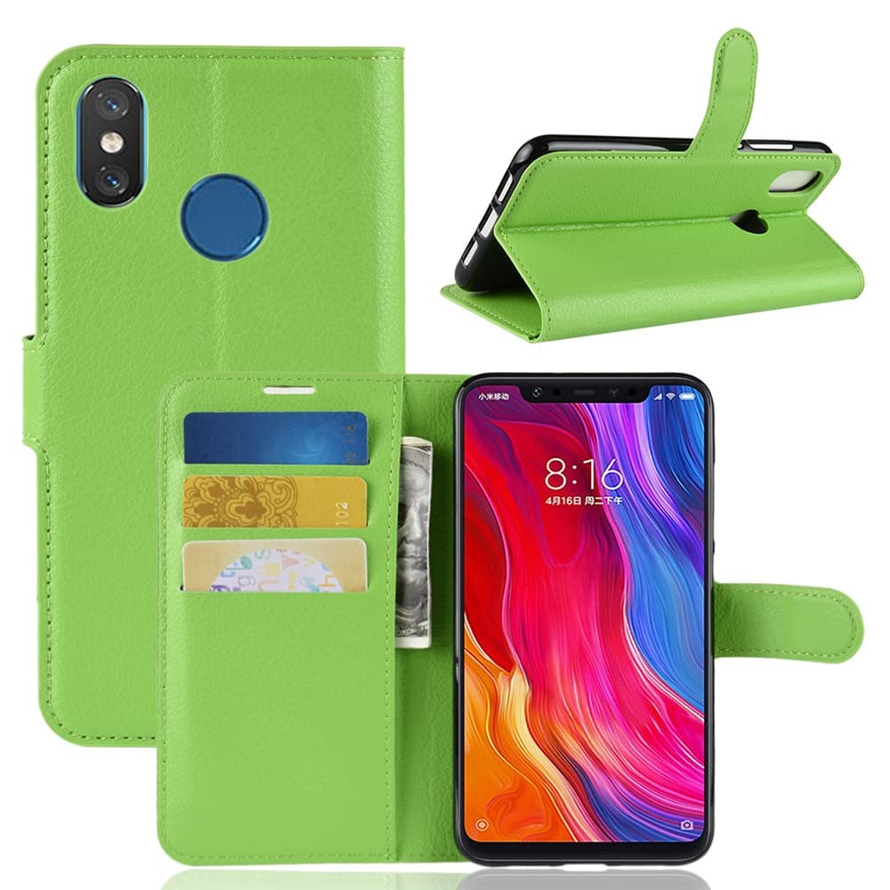 Etuis Xiaomi MI 8 Portefeuille Support VERTE