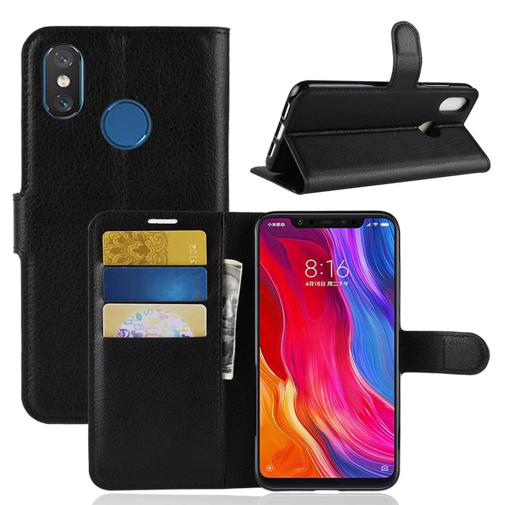 Etuis Xiaomi MI 8 Portefeuille Support NOIR