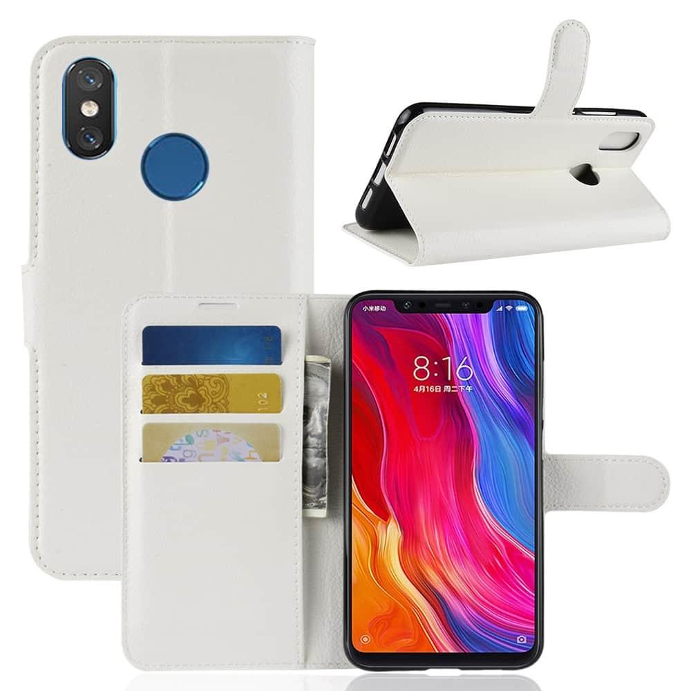 Etuis Xiaomi MI 8 Portefeuille Support BLANC