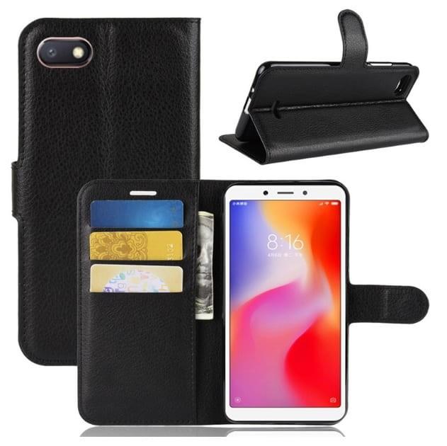 Etuis Portefeuille Xiaomi Redmi 6 Simili Cuir Noir