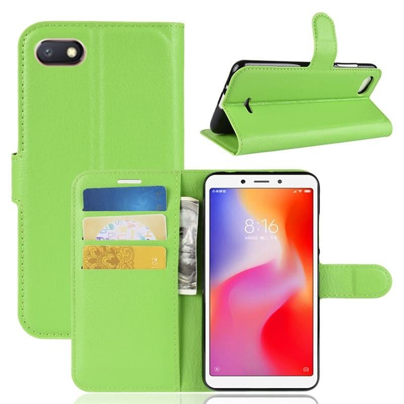 Etuis Portefeuille Xiaomi Redmi 6 Simili Cuir Verte