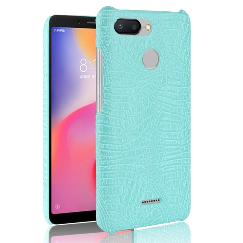 Coque Xiaomi Redmi 6 Croco Cuir Turquoise