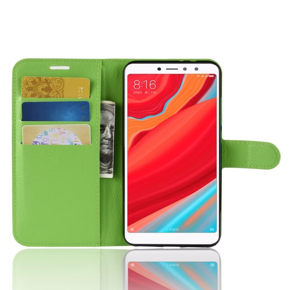 Etuis Portefeuille Xiaomi Redmi S2 Simili Cuir Verte6 Extra Fine Verte