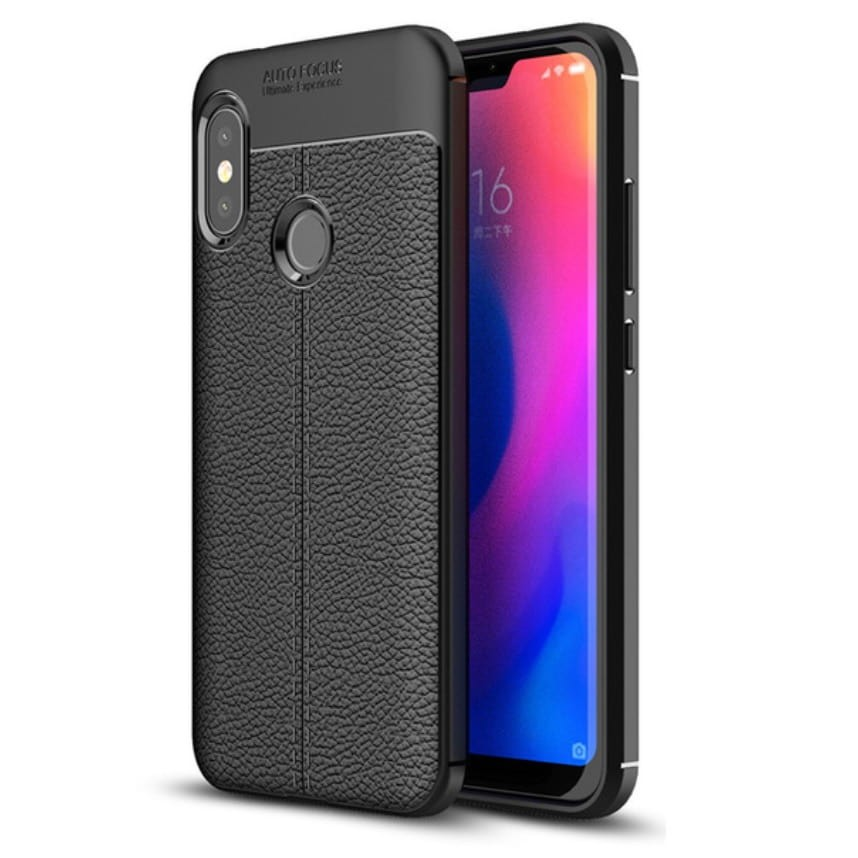 Coque Silicone Xiaomi MI A2 Lite Cuir 3D Negra