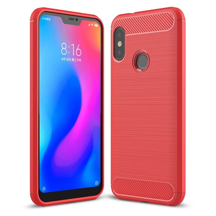 Coque Silicone Xiaomi MI A2 Lite  Brossé Rouge