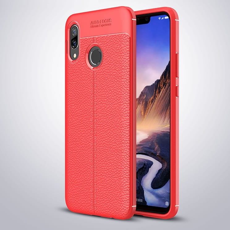 Coque Silicone Huawei P Smart Plus Cuir 3D Rouge
