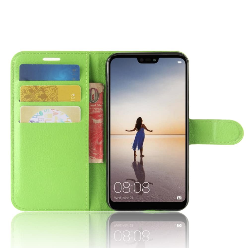 Etuis Portefeuille Huawei P20 Lite Simili Cuir Vert
