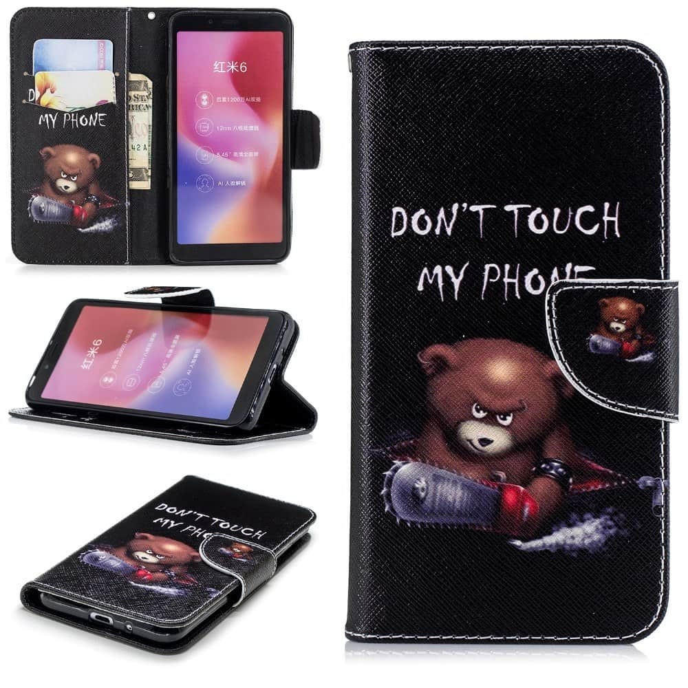 Etuis Portefeuille Xiaomi Redmi 6 Simili Cuir Ourson