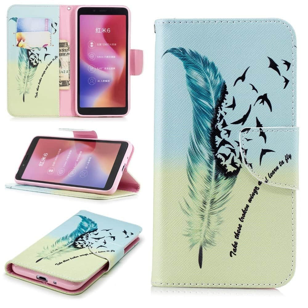 Etuis Portefeuille Xiaomi Redmi 6 Simili Cuir Oiseaux
