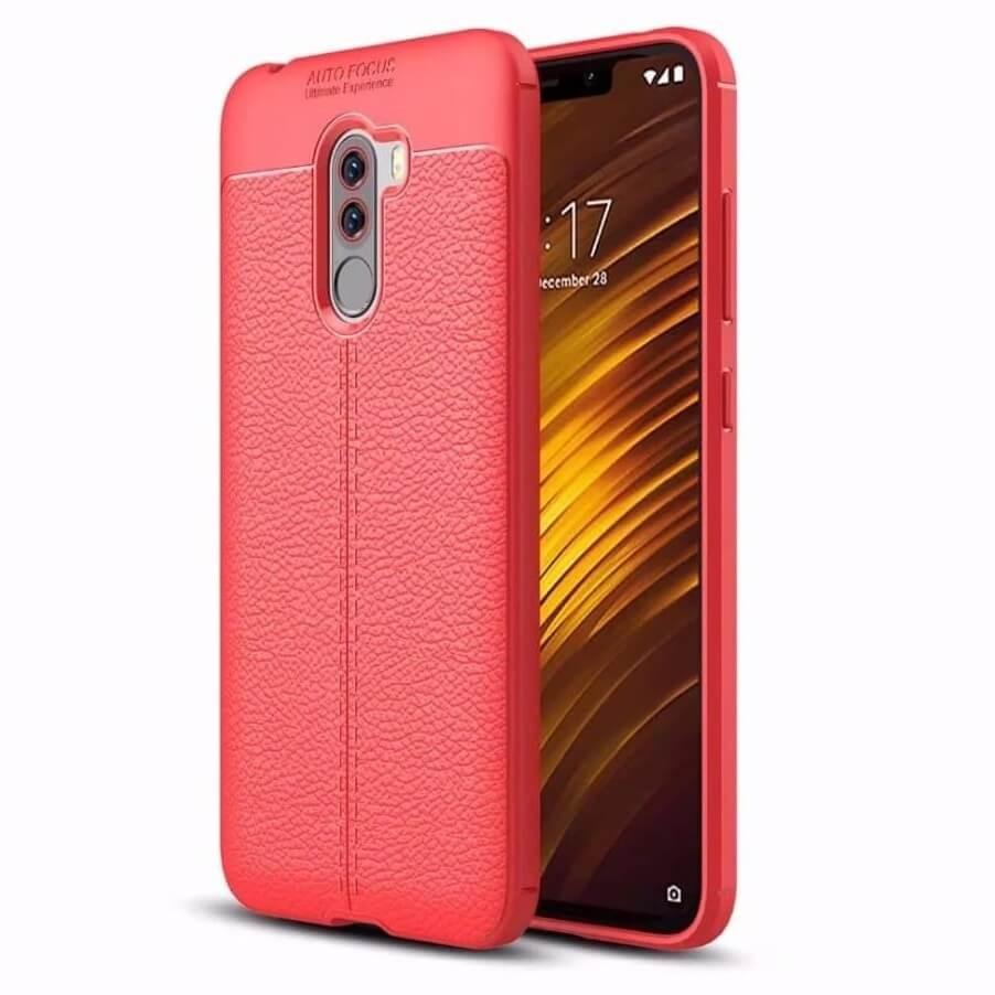 Coque Silicone Xiaomi Pocophone F1 Cuir 3D Rouge