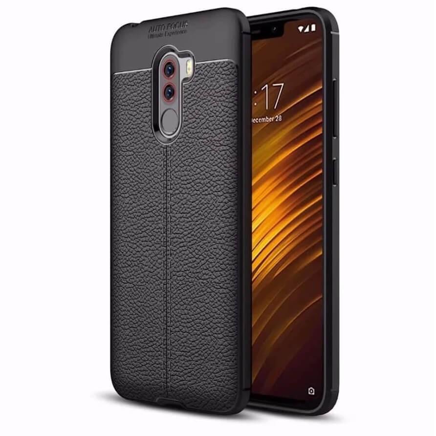 Coque Silicone Xiaomi Pocophone F1 Cuir 3D Noir