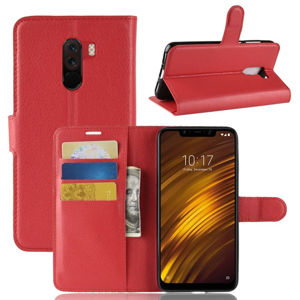 Etuis Portefeuille Xiaomi Pocophone F1 Simili Cuir Rouge