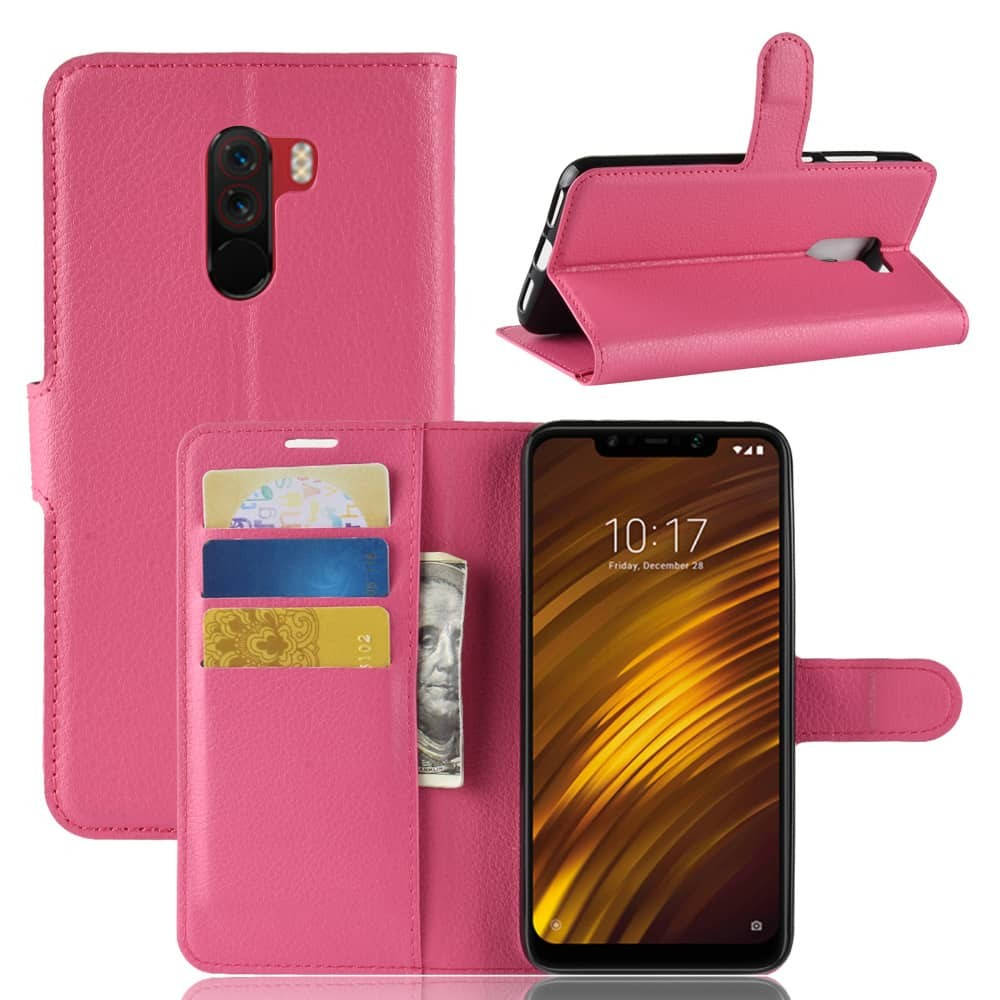 Etuis Portefeuille Xiaomi Pocophone F1 Simili Cuir Rose
