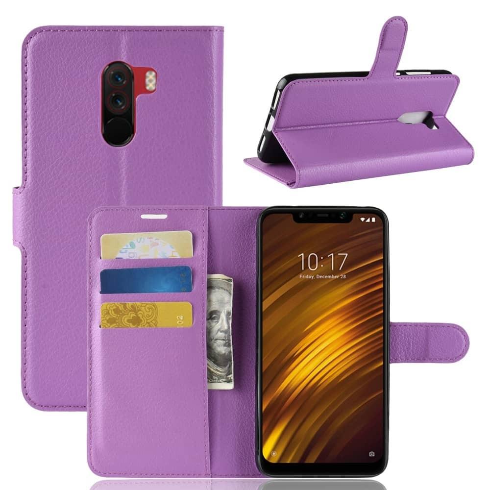 Etuis Portefeuille Xiaomi Pocophone F1 Simili Cuir Lila