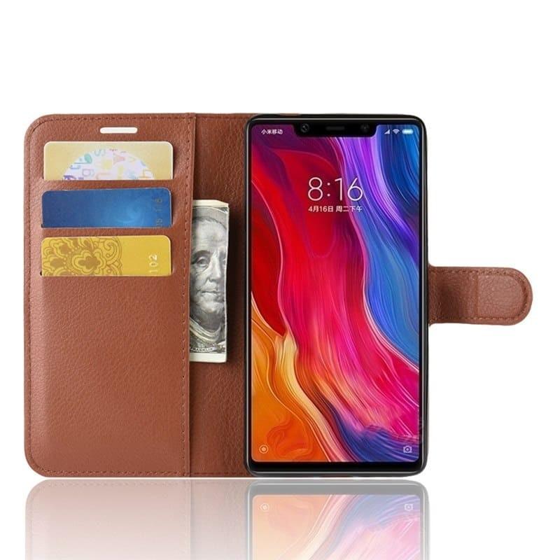 Etuis Portefeuille Xiaomi MI 8 SE  Simili Cuir Marron