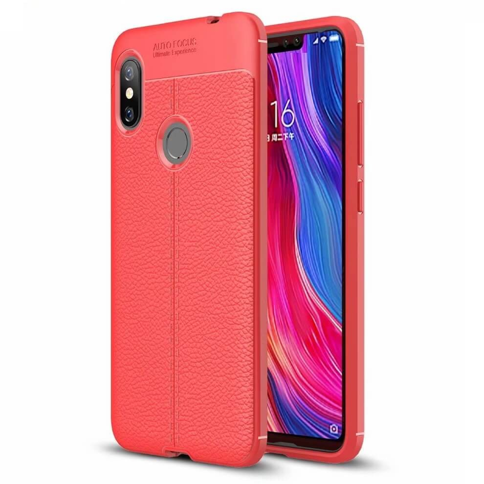 Coque Silicone Xiaomi Redmi Note 6 Pro Cuir 3D Rouge