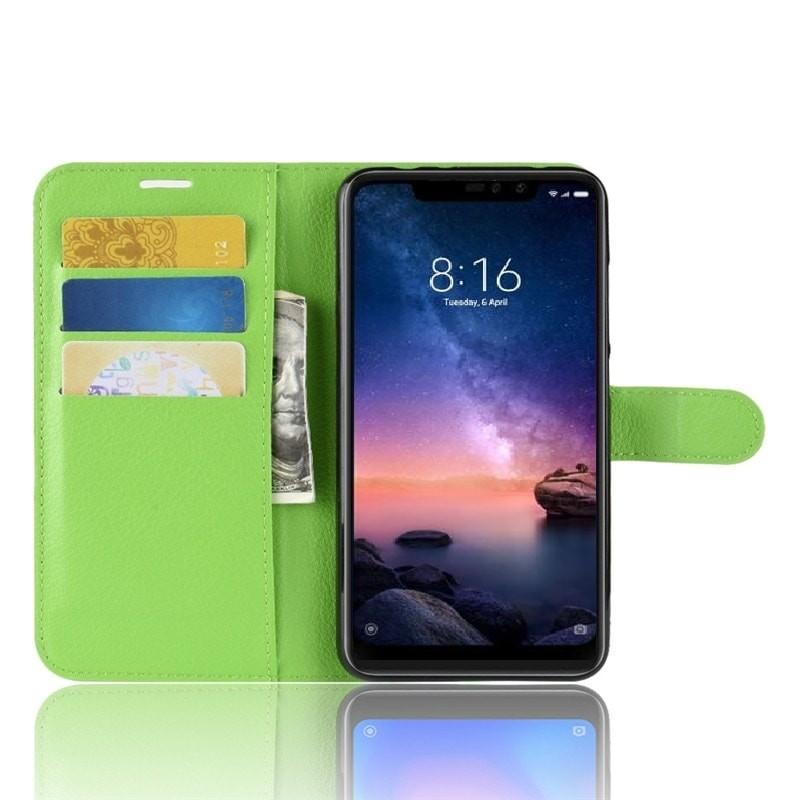 Etuis Portefeuille Xiaomi Redmi Note 6 Pro Simili Cuir Verte
