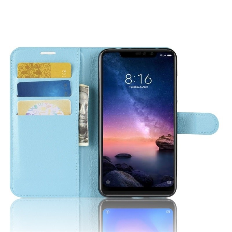 Etuis Portefeuille Xiaomi Redmi Note 6 Pro Simili Cuir Bleu
