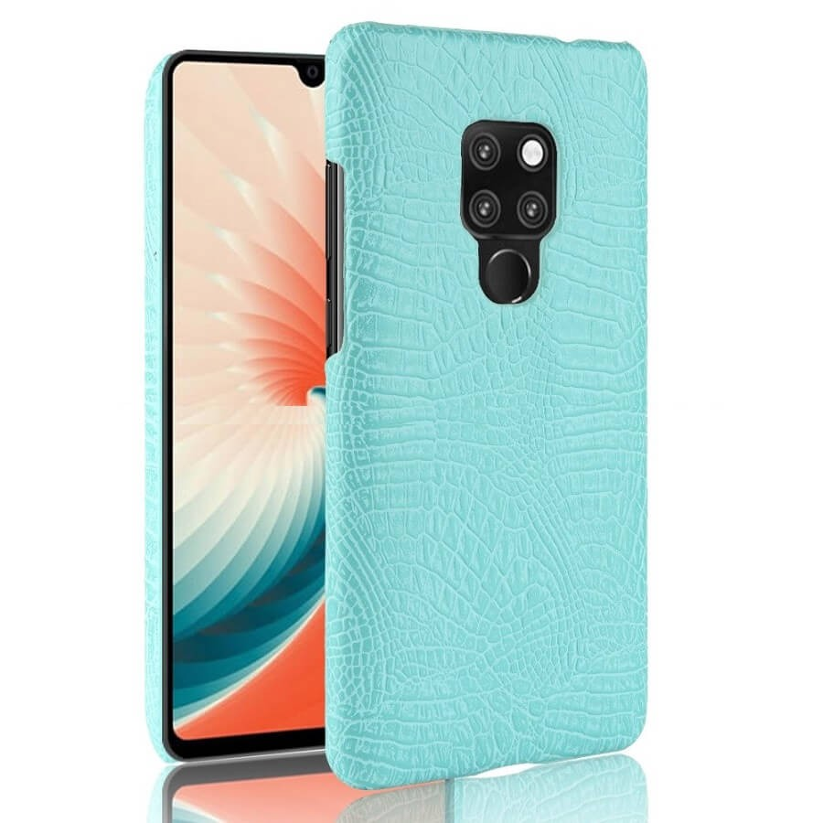 Coque Huawei Mate 20 Cuir Croco Turquoise