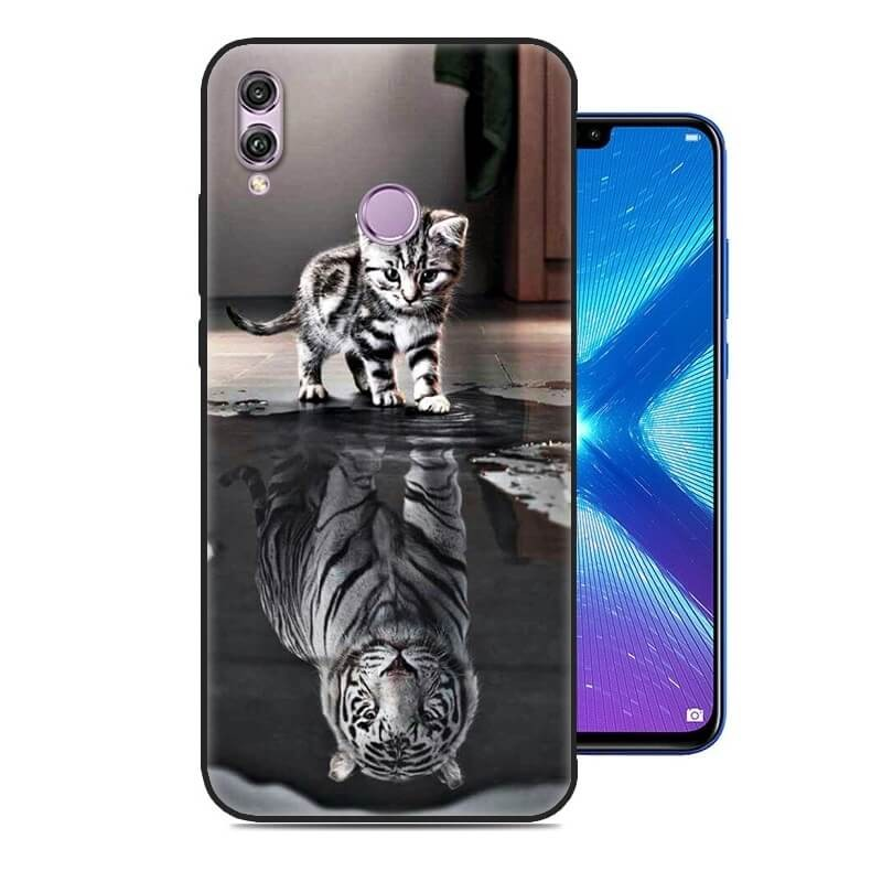 Coque Silicone Honor 8X Chat Mirroir