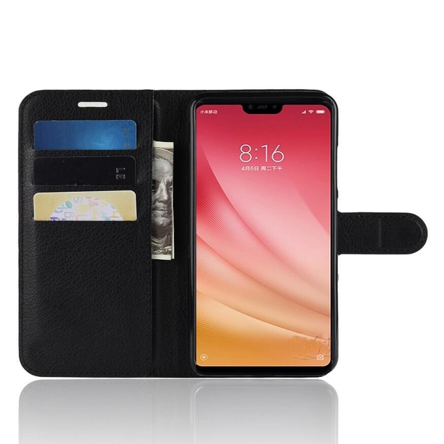 Etuis Portefeuille Xiaomi MI 8 Lite Simili Cuir Noir