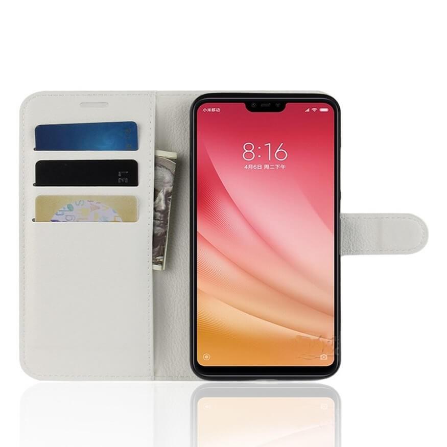 Etuis Portefeuille Xiaomi MI 8 Lite Simili Cuir Blanc
