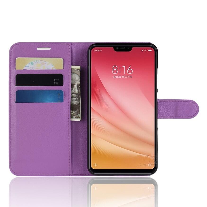 Etuis Portefeuille Xiaomi MI 8 Lite Simili Cuir Lila