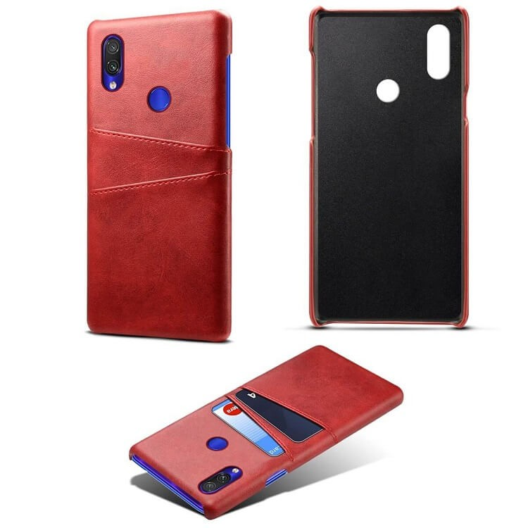 Coque Xiaomi Redmi Note 7 Cuir Rouge Imix detaille 2