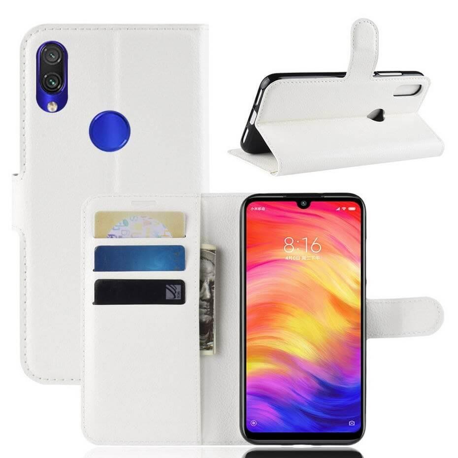 Etuis Portefeuille Xiaomi Redmi Note 7 Simili Cuir Blanc.