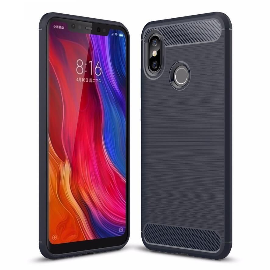 Coque Silicone Xiaomi MI 8 Brossé Bleu