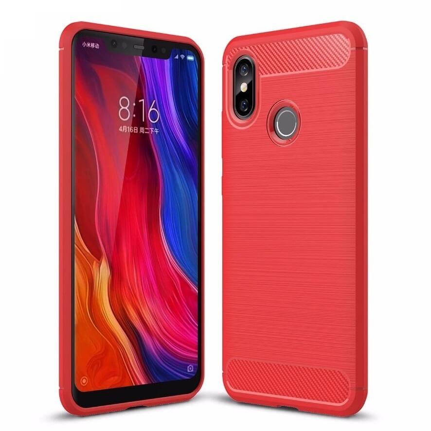 Coque Silicone Xiaomi MI 8 Brossé Rouge