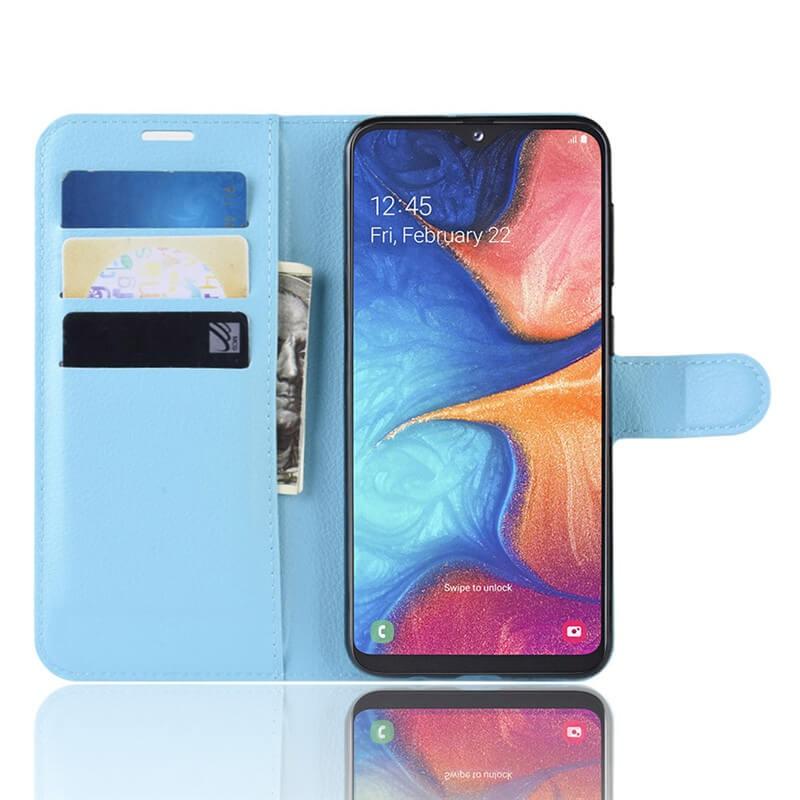 Etuis Portefeuille Xiaomi Redmi Note 8 Pro Simili Cuir Bleue.