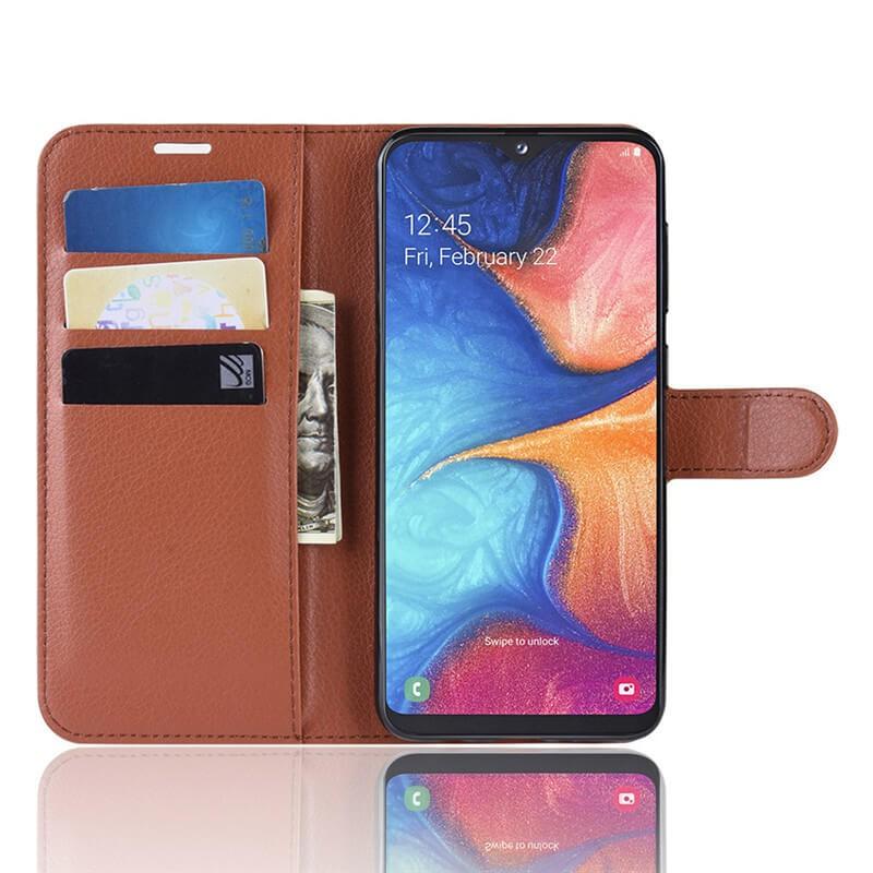 Etuis Portefeuille Xiaomi Redmi Note 8 Pro Simili Cuir Marron.