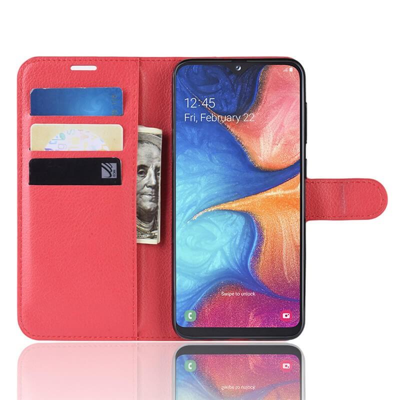 Etuis Portefeuille Xiaomi Redmi Note 8 Pro Simili Cuir Rouge.