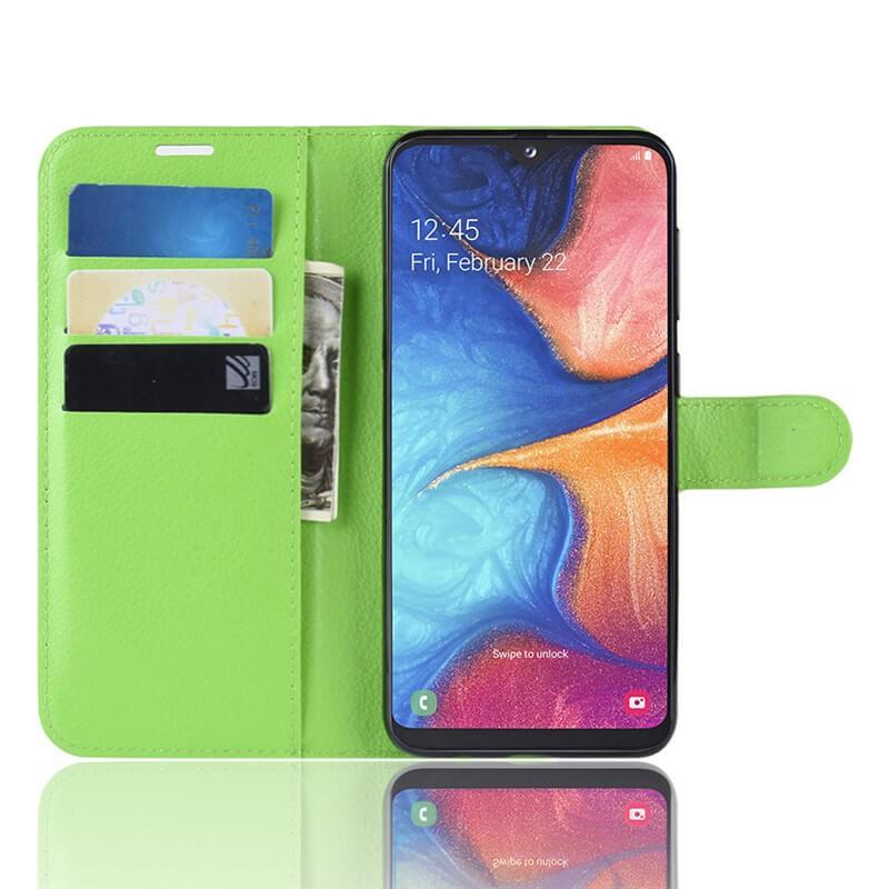 Etuis Portefeuille Xiaomi Redmi Note 8 Pro Simili Cuir Vert.