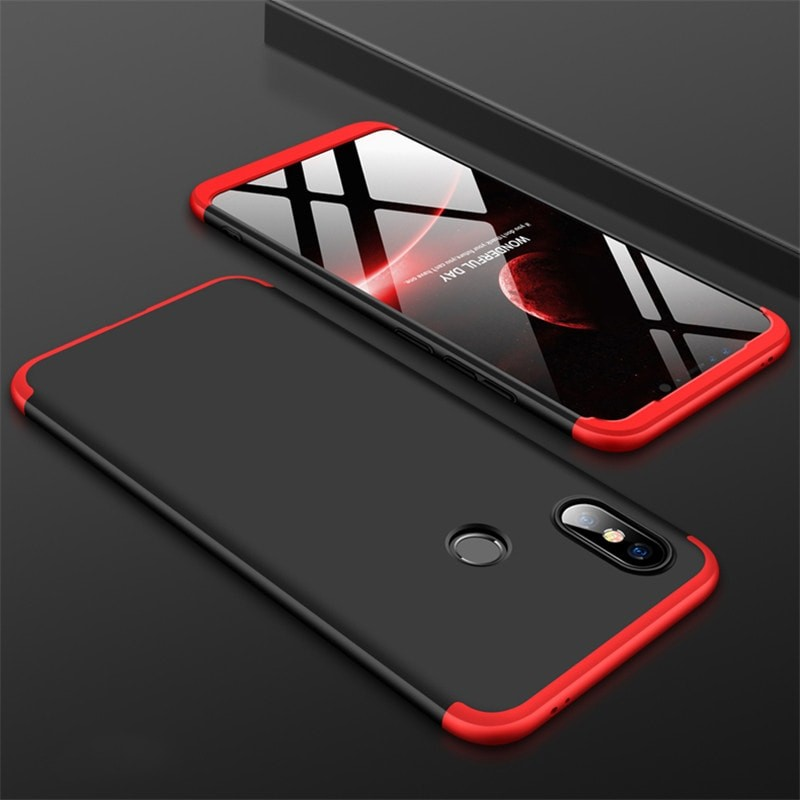 Coque 360 Xiaomi MI 8 Noir et Rouge.